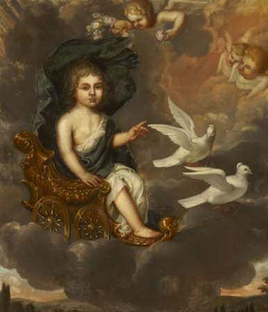 A Child as the Infant Venus seated in a Chariot pulled by Doves