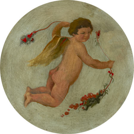 Putto flying with a Garland of Flowers (ceiling roundel)