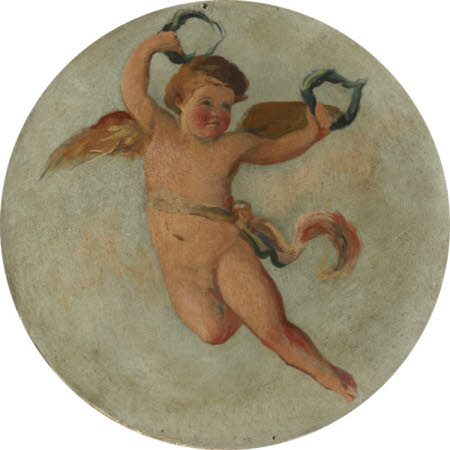Putto flying with two Laurel Wreaths