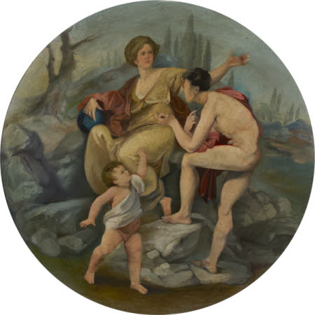 A Young Man (Oedipus) interrogating a Young Woman addressed by a Putto