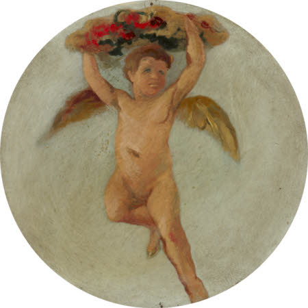 Putto flying and holding up Flowers above his Head
