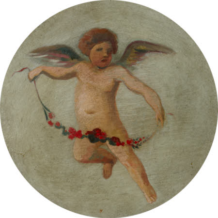 Putto flying with a Garland of Flowers