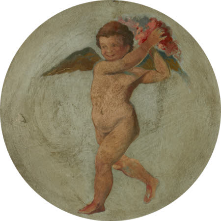 Putto flying and holding up Flowers