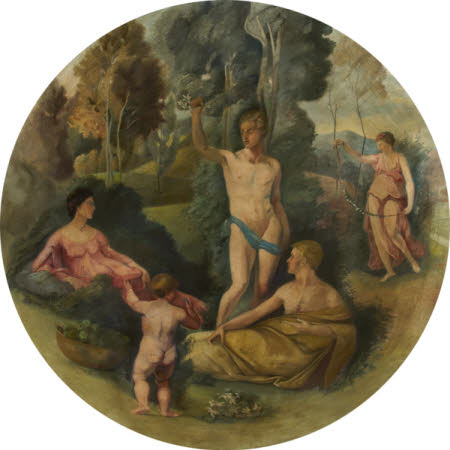A Nude Youth holding a Sod with Flowers over a Maiden and a Draped Man, addressed by a Putto beside ...