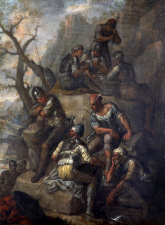 Soldiers and Banditti resting on Rocks and playing Cards