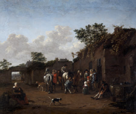 Horses being saddled in the Courtyard of an Inn