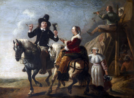 A Couple on Horseback next to a Bivouac - so-called  'Albert Cuyp and his Wife'
