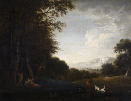 Woody Landscape with Woman and Child, Satyr and Goats