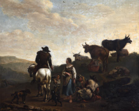 Man on Horseback encountering Herdsfolk in a Landscape