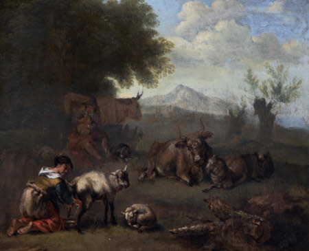Cattle and Sheep with a Young Woman Milking