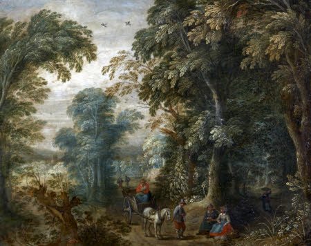 Landscape with Horse and Cart on a Wooded Lane
