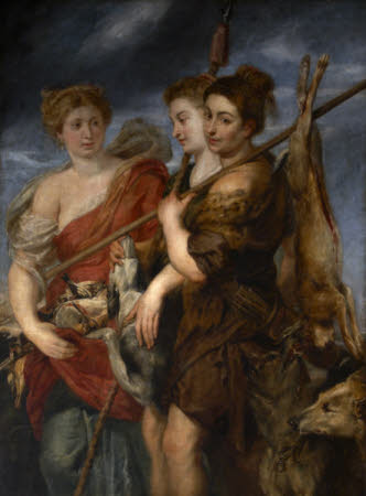 Three Huntresses returning from the Chase