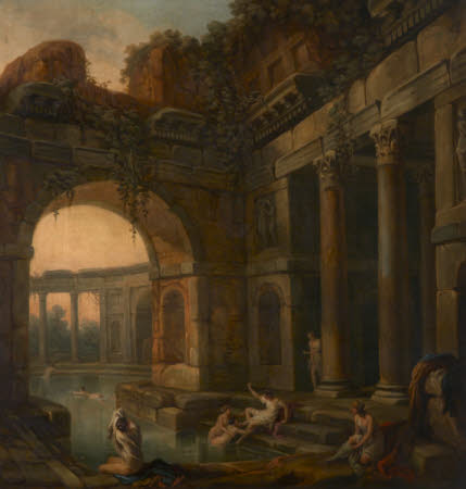 Ruins of Classical Baths with Nymphs Bathing