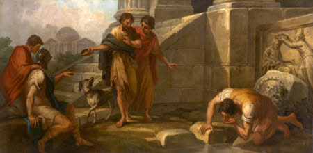 Diogenes casting away his Wooden Bowl as a Superfluity, on seeing a Youth drinking from his Hand