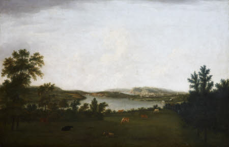 Plymouth, Mount Edgcumbe, and Plymouth Sound, seen from Saltram