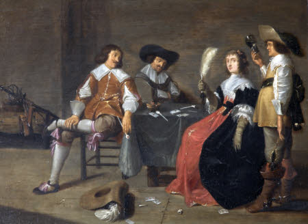 Three Men and a Woman playing Cards  or Three Cavaliers and a Lady in an Interior