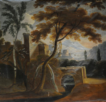 Classical Landscape with Buildings, River, Trees, and Mountains beyond