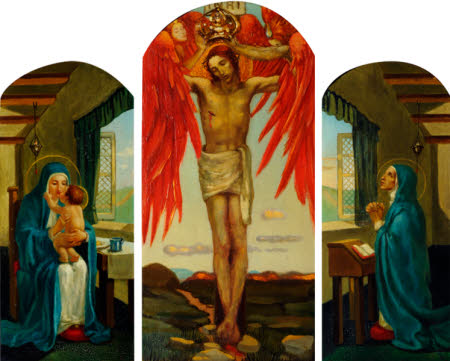 Triptych: Crucifixion with Two Seraphim Angels crowning Christ (central), Madonna and Child (left) ...