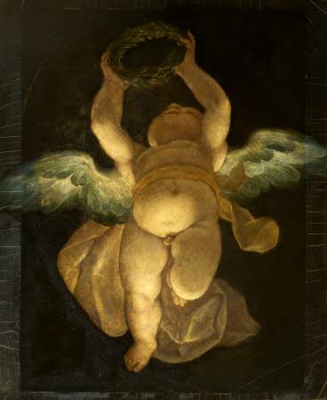 Cupid carrying a Laurel Wreath