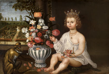 A Royal Child seated by a Vase of Flowers and a Monkey with a Garden beyond with the figure of ...