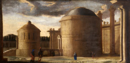Architectural Capriccio of Ancient Rome with Figures: Two Temples, one of Honour, the other of ...