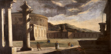 Architectural Capriccio of Ancient Rome with Figures and Vespasian's Amphitheatre with the Columna ...