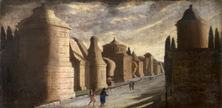 Architectural Capriccio of Ancient Rome with Figures (Called the Tomb of Augustus Caesar, but ...
