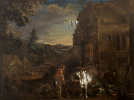 A Wooded Landscape with a Milkmaid milking a Cow and Labourers outside a Farm Building
