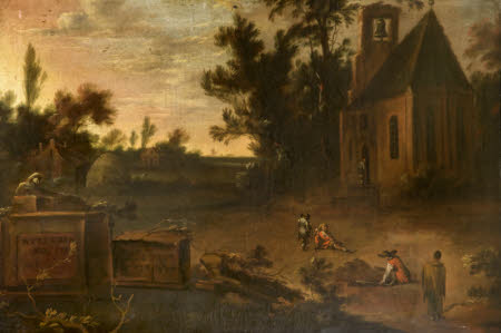 A Wooded Landscape with a Churchyard and Gravediggers