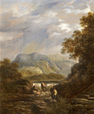 A Mountainous Wooded River Landscape with an Angler