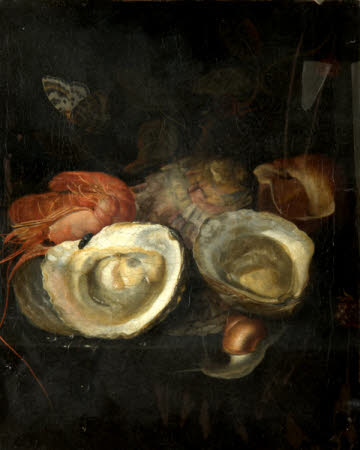 Still Life of Oysters and a Prawn on a Ledge, with a Snail and a Butterfly