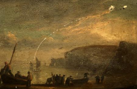A Coastal Landscape with Fisherfolk on a Boat