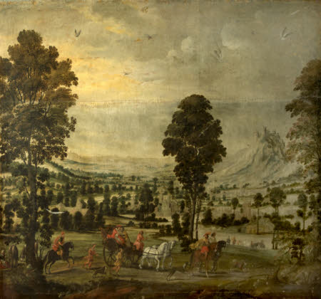 Landscape with Horsemen and a Coach (? Elisha and Naaman)