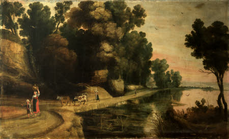 Landscape with Figures and Cattle on a Track by the Water