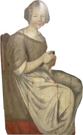 A Dummy Board Figure of a Maidservant peeling an Apple