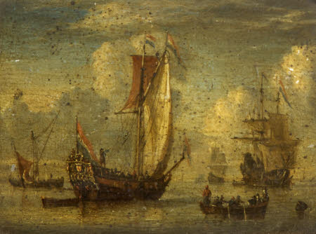 Dutch Men-o'-War and other Shipping in a Harbour