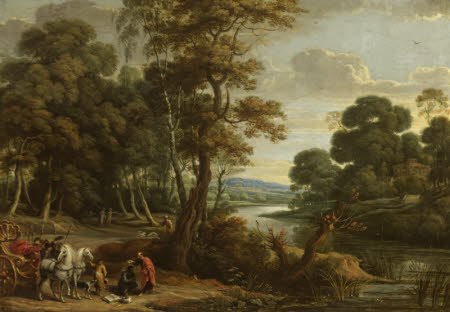 A Wooded River Landscape with Saint Philip baptising the Eunuch