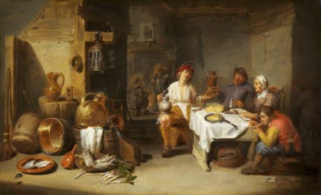 A Poor Company at Table in a Rustic Kitchen (Le petit chaudron)