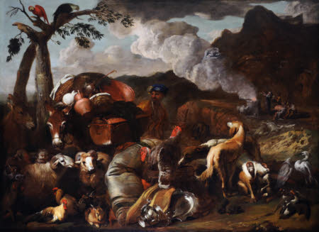 The Animals leaving the Ark with the Sacifice of Noah in the distance