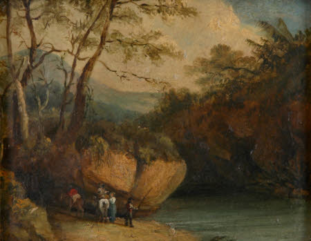 Figures by a Pool in a Rocky Landscape
