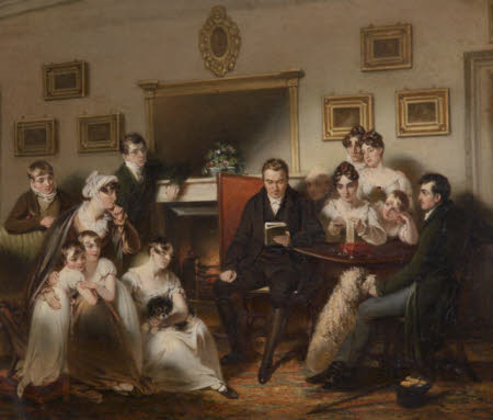 'The Pastor's Fireside': the Family of Sir Thomas Acland, 10th Bt being read to by the Vicar of ...