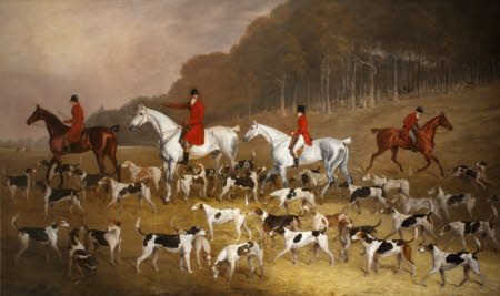 Sir Jacob Astley, 6th Bt, 16th Baron Hastings (1797-1859) on his Grey Hunter with Huntsmen and ...