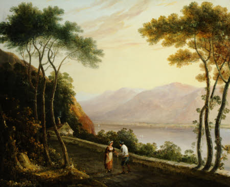 Landscape of a Lake with Distant Mountains and a Man and a Woman conversing on a Road