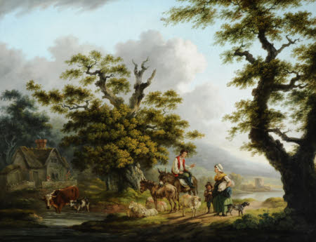 Pastoral Scene with a Hersdman and his Animals talking to a Mother and Child on a Road