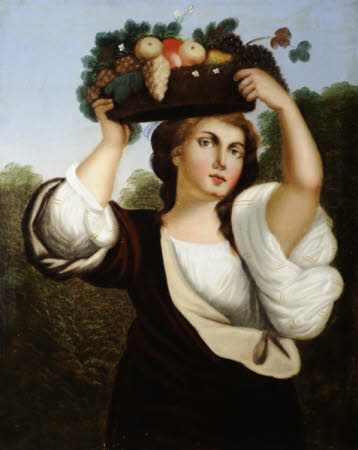 A Lady with a Basket of Fruit on Head