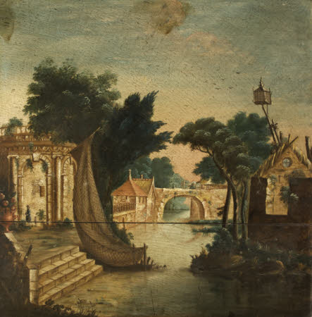 Capriccio River Scene with a Temple, Houses and Bridge