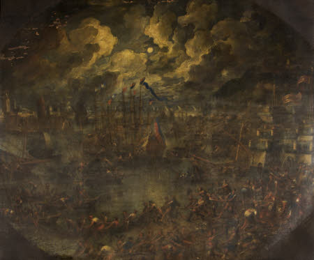 Harbour Scene by Moonlight with an Army of Fishermen