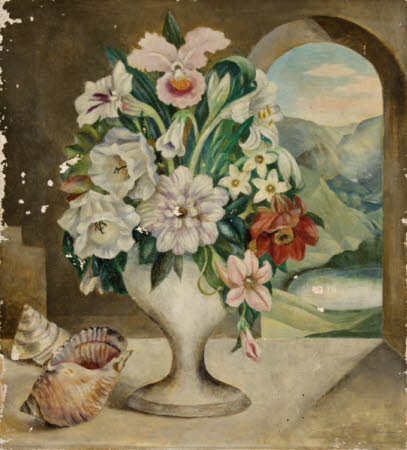 Still Life of Flowers in a Vase with Seashells, and a Mountain View