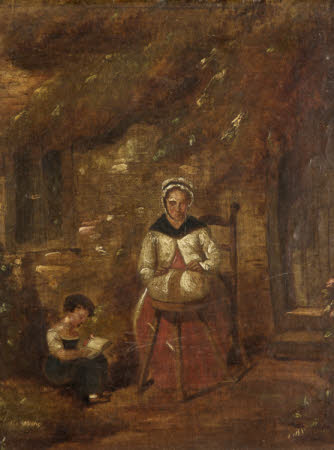 A  Lace-making Mother and Child