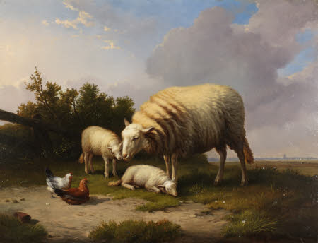 A Sheep, two Lambs, Cock and Hen in a Landscape